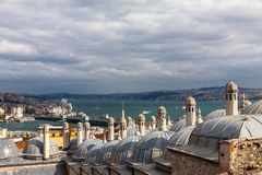 View from Suleymaniye mosque to Bosphorus,  Istanbul Stock Photography