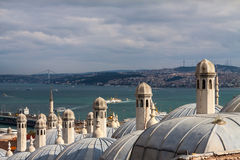 View from Suleymaniye mosque to Bosphorus,  Istanbul Royalty Free Stock Image