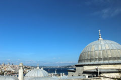View from Suleymaniye over the city of Istanbul. View across the domes of the shopping arcade from the Suleymaniye Mosque towards the city of Istanbul Royalty Free Stock Photos
