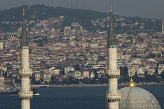 View from Suleymaniye over the city of Istanbul. View across the domes of the shopping arcade from the Suleymaniye Mosque towards the city of Istanbul Royalty Free Stock Photo