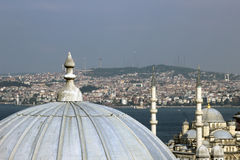 View from Suleymaniye over the city of Istanbul. View across the domes of the shopping arcade from the Suleymaniye Mosque towards the city of Istanbul Stock Photos