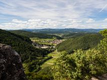 View from Sulov rocks, nature reserve in Slovakia on Jablonove village stock photography