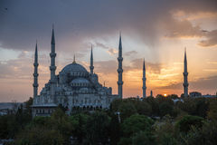 View on Sultan Ahmet Mosque during the sunset Royalty Free Stock Photography