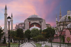 View of the Sultanahmet Square and Saint Sophia at dawn ,Istanbul Stock Photo