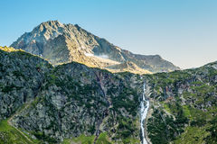View from the Sulzenaualm, mountains,peaks and waterfall. View from the Sulzenaualm, mountains,peaks and Sulzenaufall waterfall, Hiking in the Stubai Alps royalty free stock images