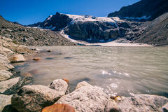 View of the Sulzenauferner Glacier and lake in Stubai Alps Royalty Free Stock Photography