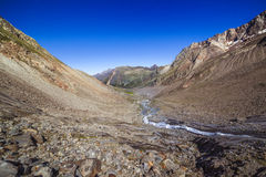 View of the Sulzenauferner Glacier valley in Stubai Alps Royalty Free Stock Photo