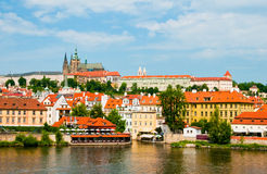 View on summer Prague above River Vltava Stock Photos