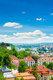 View of summer Prague city from hill Royalty Free Stock Image