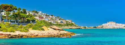 View of summer Spain in sunny weather. Panoramic seascape of Mediterranean sea,and seaside resort in high summer royalty free stock images