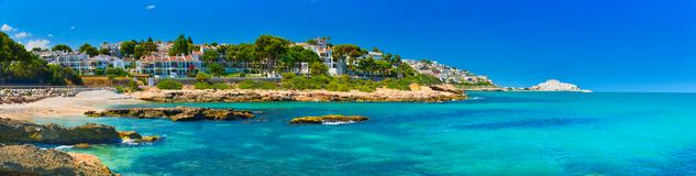 View of summer Spain in sunny weather. Panoramic seascape of Mediterranean sea,and seaside resort in high summer stock photos