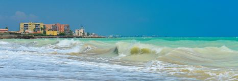 View of summer Spain in sunny weather. Seascape of stormy Mediterranean sea.Panoramic view of summer storm stock photo