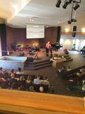 View from the Summit church balcony during a service. Summit church balcony Stock Photography