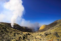 View of Summit crater on Etna. In the picture it is possible to see an inner part of the crater of the North-East, following a recent activity that has literally royalty free stock photos