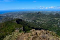 View from the summit of Le Pouce Mountain royalty free stock photos