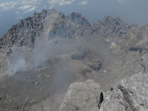 The view from the summit of Mount Merapi stock image