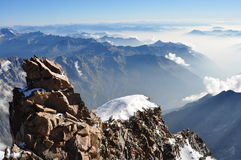 View from the summit of Mount Rosa Royalty Free Stock Image
