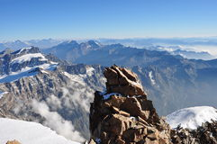 View from the summit of Mount Rosa Royalty Free Stock Images