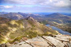 View from Summit of Mount Snowden Stock Images