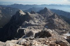 View from Mount Triglav in the Julian Alps, Slovenia. Royalty Free Stock Photography