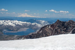 View from the summit of Mt. St. Helens. View of Mt. Rainier and Spitit Lake from the summit of Mt. St. Helens Royalty Free Stock Image