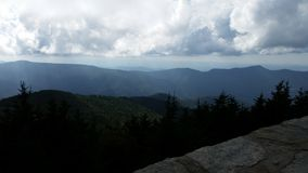 View at the summit on Old Mitchell Trail in Mt Mitchell state Park near Marion NC. View from the stone wall at the summit on Old Mitchell trail in Mt. Mitchell Stock Photography