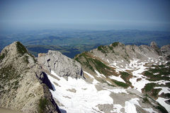 View from the Summit. Of Santis in the Alpstein Massif in the Alps stock image