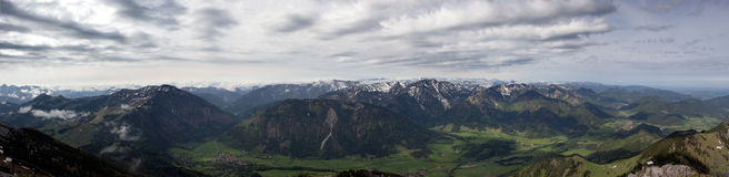 View on the summits of the Austrian alps. Panorama view from the wendelstein mountain in Bavaria to some summits of the alps Royalty Free Stock Photography