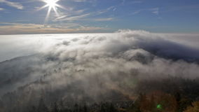 View on the sun over inversion from Jested stock video footage