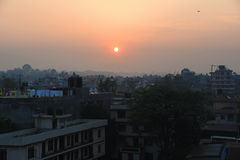 View of the sun rise in Kathmandu city, Nepal Stock Photo