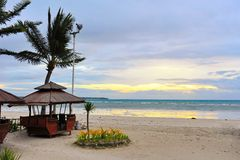 View of sun rising above the horizon at Bantayan Island. Philippines Royalty Free Stock Photos