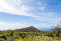 View from Sun Yat-Sen Memorial Park. Sun Yat-Sen Memorial Park offers spectacular ocean views of Kahoolawe and the Molokini Atoll Stock Photo