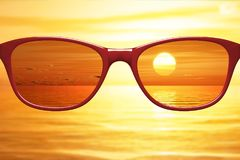 View through sunglasses sharp with glasses unsharp without glass. Es 3d illustration stock images
