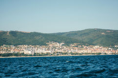 View of Sunny Beach from the sea with floating boat, Bulgaria. Stock Images