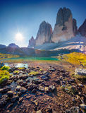 View of the sunny Lago Rienza - Ursprung in National Park Tre Ci Royalty Free Stock Photo