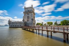Sunny long exposure of the Belém Tower in Lisbon royalty free stock photography
