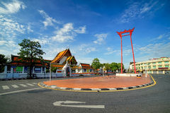View of sunny morning at Giant Swing and Wat Sutut Royalty Free Stock Photography