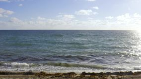 View at sunny sand beach and rolling waves in Miami in USA stock footage