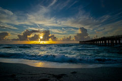 View of Sunrise on the Beach. View of the sunrise from the beach in miami royalty free stock photo