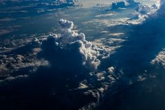 View the sunrise and clouds from the flight window royalty free stock images
