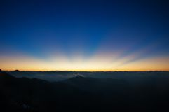 View of sunrise from Devikulam hill. Munnar Stock Images
