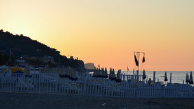 View of the sunrise, the Ligurian Riviera, Finale Ligure. Italy Royalty Free Stock Photo
