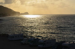 View of the sunrise, the Ligurian Riviera, Finale Ligure. Italy Stock Images