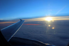 View of the sunrise from the plane Royalty Free Stock Photo