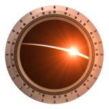 View On The Sunrise Through The Porthole Of Spaceship Stock Photos