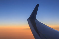 View on sunset from aircraft Royalty Free Stock Photography
