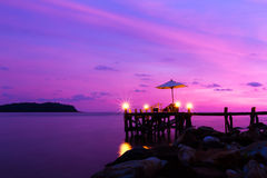View sunset beach bar. View of sea the evening in east of thailand Stock Image