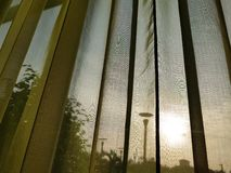 View of the evening sun from behind a green voile curtain, showing street lamp silhouettes stock images