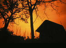 View of sunset - behind the house Royalty Free Stock Photography