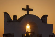 View on sunset through belfry of church Royalty Free Stock Photos
